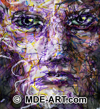 Pen and Ink Purple Face Detail