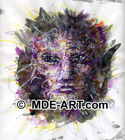 Pen and Ink Purple Face