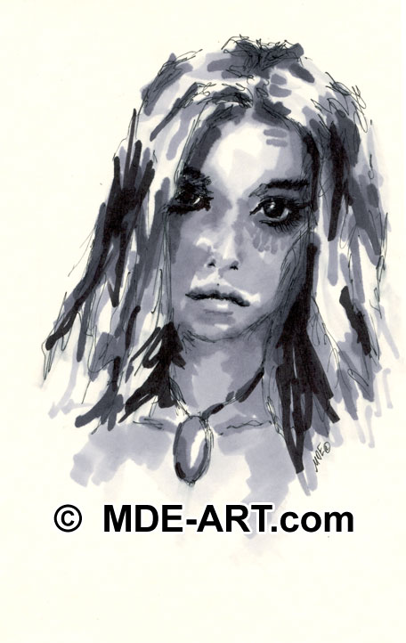 Marker Drawing of a Girl's Face