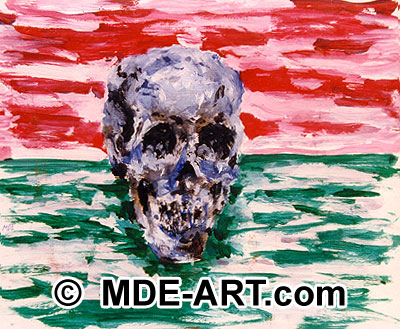 Painting of a skull with acrylic paint