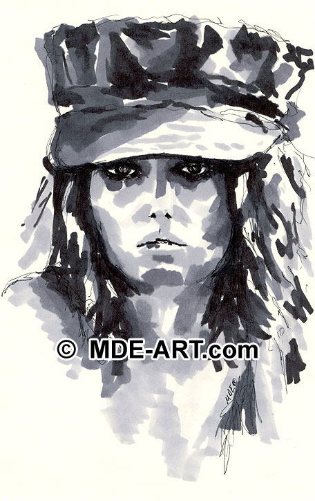 Pen and ink portrait drawing of a woman wearing a hat