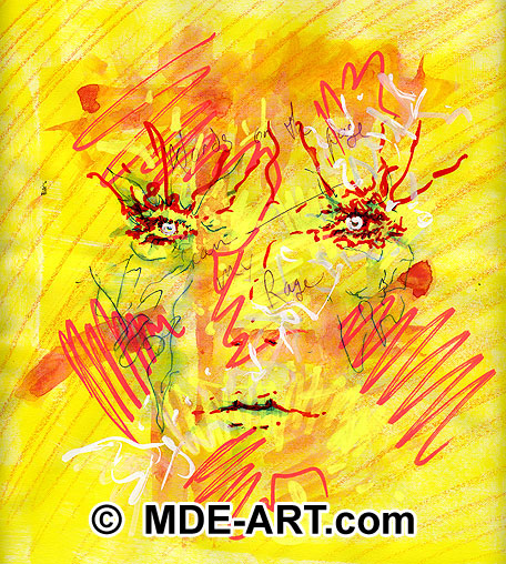 Abstract art drawing of a face