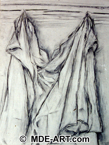 Drapery Study, Charcoal Drawing