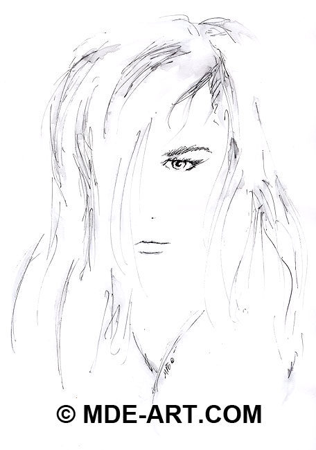 Pen Sketch of a Woman's Face, Portrait