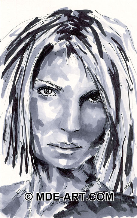 Black and White Marker Sketch of a Female Portrait