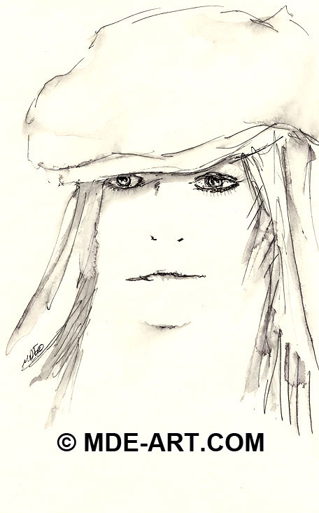 A Pen Drawing of a Girl Wearing a Hat