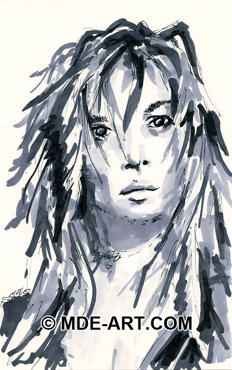 Marker Drawing of a Woman, Portrait Sketch