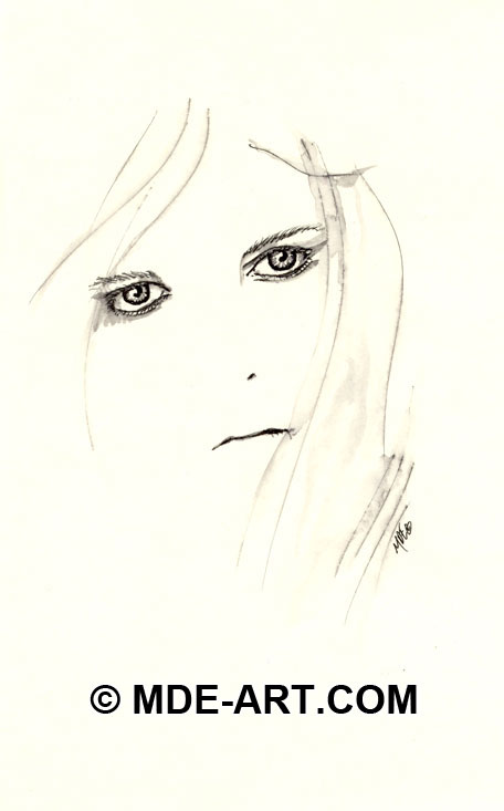 Pen and ink portrait drawings of a woman