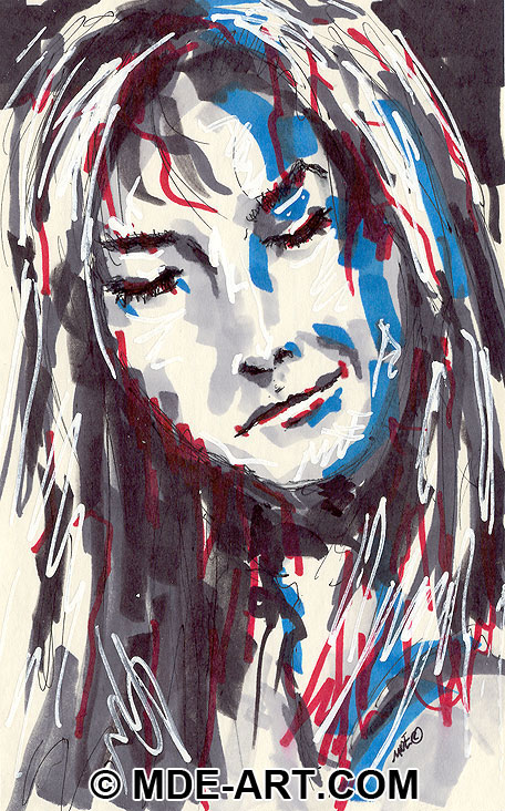 Marker Drawing of a Young Woman's Face, Portrait