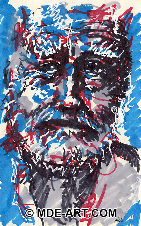 Marker Drawing of an Old Man's Face