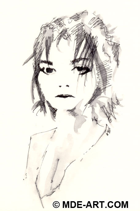 A Portrait Pen Drawing of a Woman