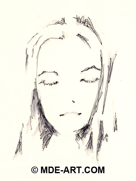 A Pen Drawing of a Woman's Portrait