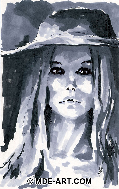 Marker drawing of a woman wearing a hat