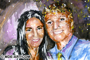Mini Portrait Painting of Young Woman and Man