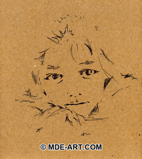 Pen and Ink Portrait Drawing of a Child
