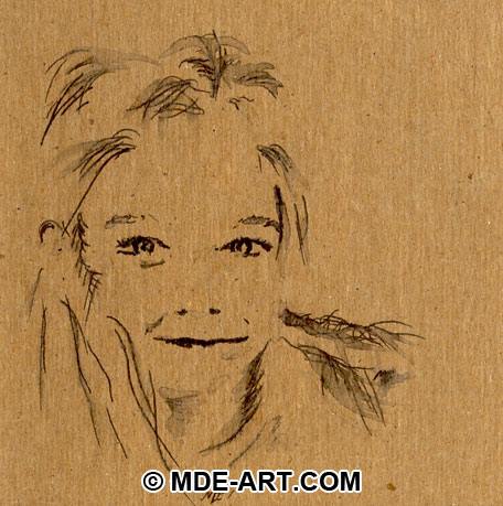 Pen and Ink Portrait Sketch of a Child