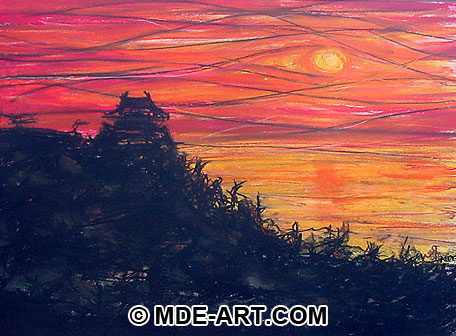 Charcoal Drawing of Asian Architecture Silhouetted by a Sunset