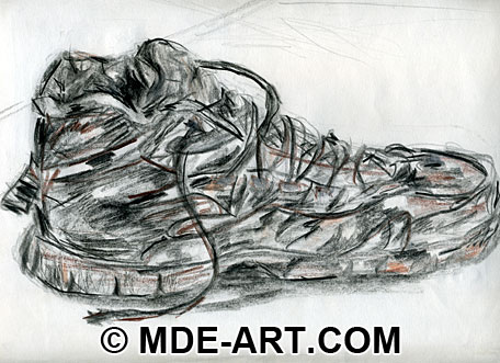 Sketch of a Shoe Drawn with Colored Pencils