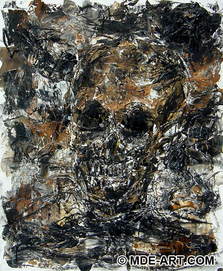 Drawing and Painting of a Skull on a Skeleton Corpse