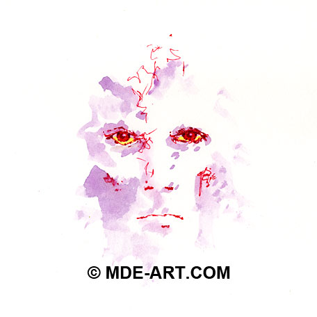 Drawing of a Face with Red Pen