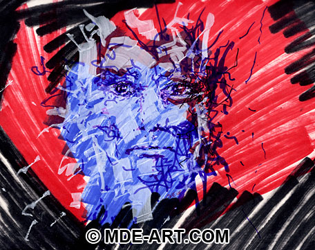 Colorful Abstract Expressionist Portrait Drawing of a Face
