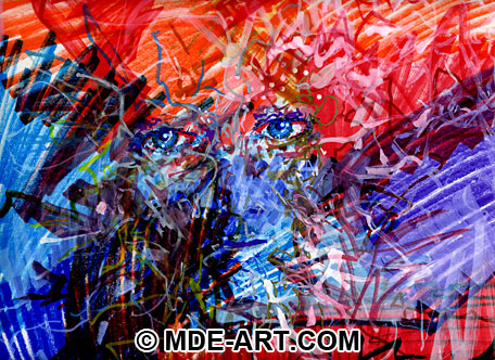 Colorful Expressive Abstract Portrait Drawing of a Face