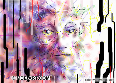 Digital Drawing of an Abstract Face of Lines and Color