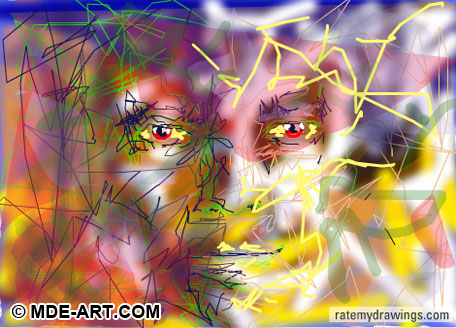 Digital Drawing of a Face of Lines and Color