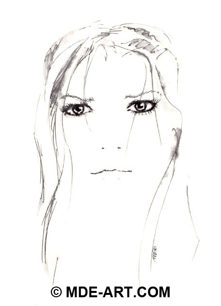A portrait drawing of a girl created with pen and water