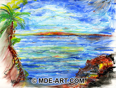Ocean Seascape Sunrise Drawn with Oil Pastels
