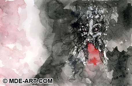 Abstract Macabre Pen and Ink Drawing of a Bloody Death Skull