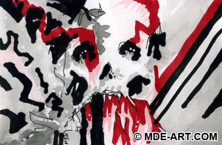 Abstract Macabre Pen and Ink Drawing of a Skull with Blood