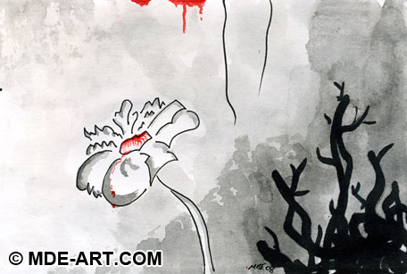 Abstract Macabre Pen and Ink Drawing of a Flower