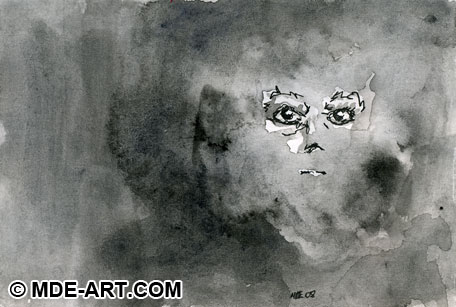 Abstract Macabre Pen and Ink Drawing of the Face of Death