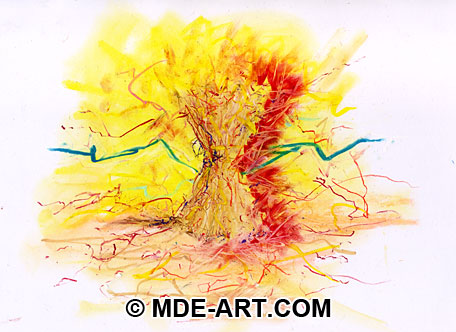 Oil Pastel Drawing of a Haystack in an Abstract Surrealism style
