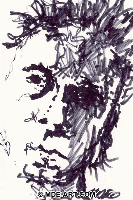 Black and White Marker Drawing of a Male Face