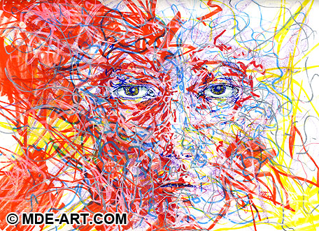 Drawing and Painting of an Abstract Face