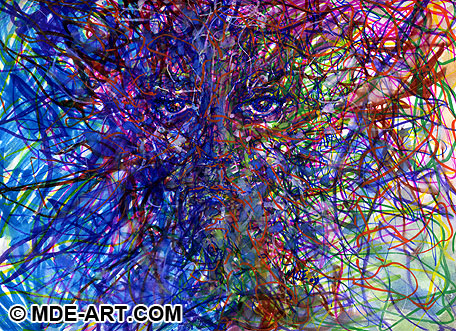 Abstract Face in Art Work comprised of impressionistic and emotive lines and color.