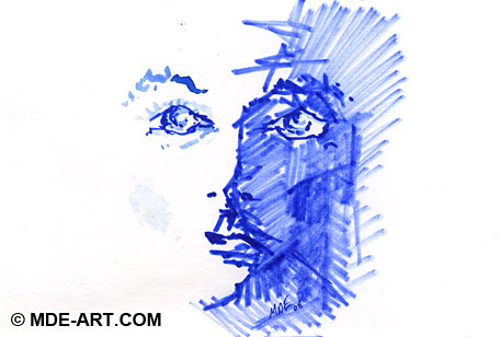 Abstract Drawing of a Blue Face with Markers