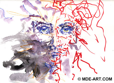 Abstract Painting of a Face with Watercolor, Colored Pencil, Crayon, and Pen