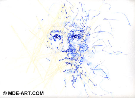 Blue Pen Drawing of a Character Face