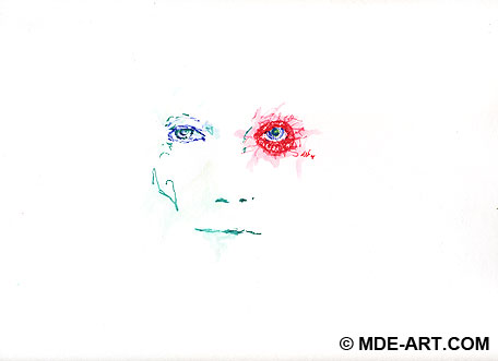Pen Portrait Drawing of a Face with Red