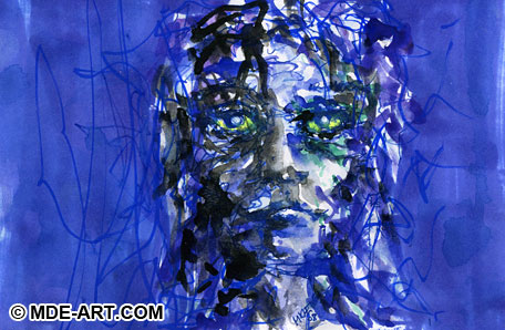 Impressionistic Portrait Painting of a Girl with Pen and Watercolor