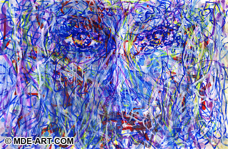 Portrait Painting of a Woman Face with Paint Pens, Markers, and Pens