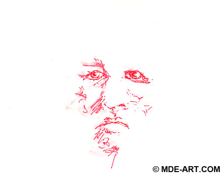 Drawing of a Face of an Old Man with Red Pen