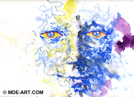 Abstract Watercolor Painting of a Blue Face