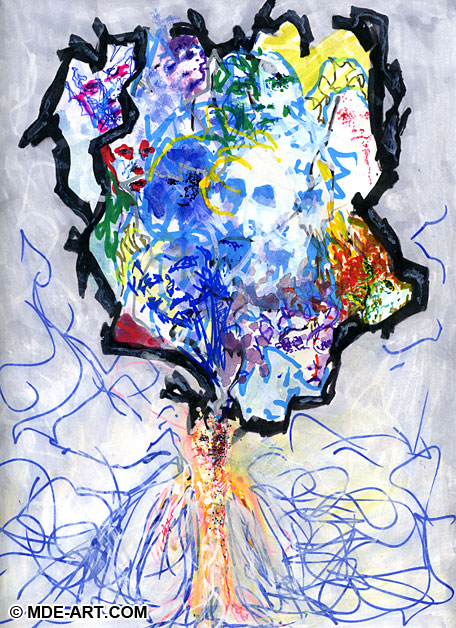 Faces in Mind - Drawing of a person with abstract faces overflowing from the head