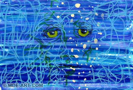 Feeling Blue | Laminated Abstract Painting and Drawing of a Sad Face with Blue and Grey Colors