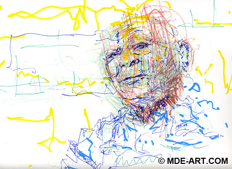 Abstract Portrait Drawing of Frank Calloway