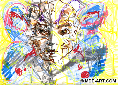 Abstract Expressive Drawing and Painting of an Angry Face with Butterfly Wings